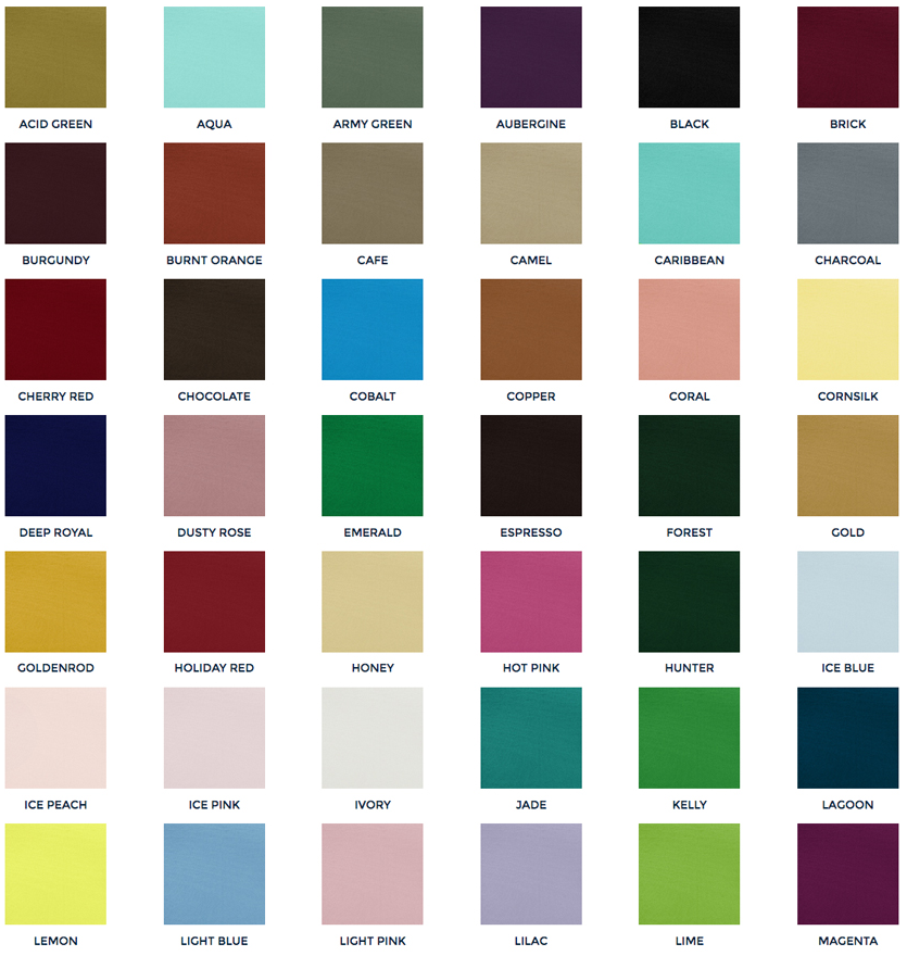 Table Cloth and Napkin Colors 1