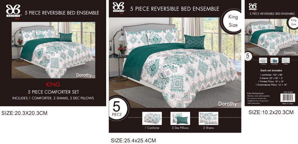 5 Piece Reversible Bed Ensemble